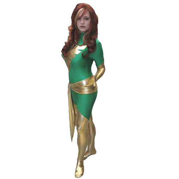 Phoenix X Men Cosplay Costumes Holloween Party Zentai Suits Green Color Fashion Superhero Costumes Elastic Lycar Fabric XCC51