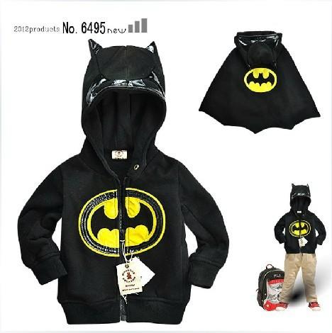 Ems envío gratis niños niños clothing capucha suéter chaqueta de abrigo childre batman modelado nuevo 5 unids/lote 3-7 años