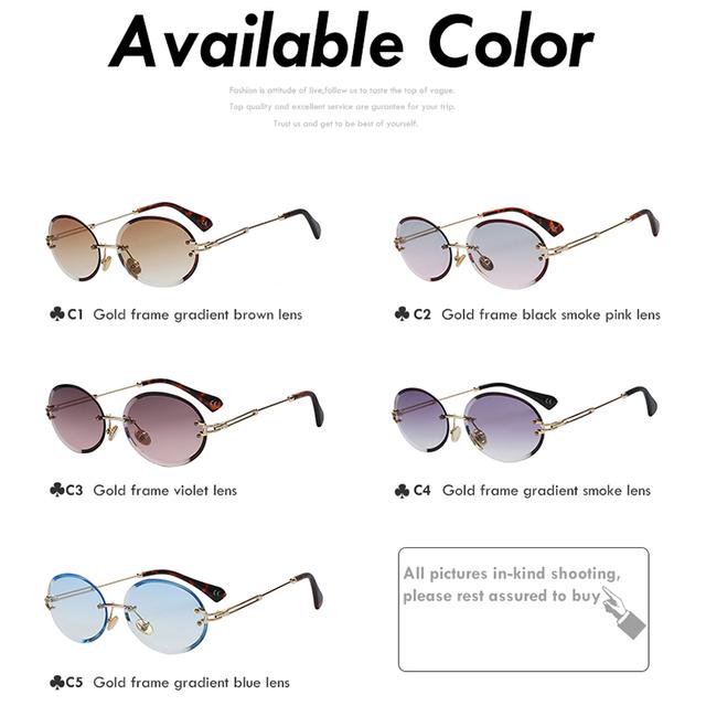 Retro Oval Frameless Sunglasses
