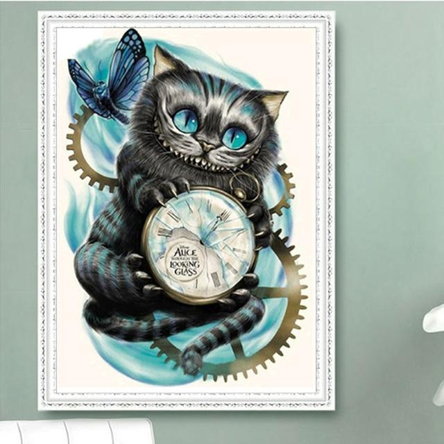 5D Diamond Mosaic Cartoon Cats butterfly Handmade Diamond Painting Cross Stitch Kits Diamond Embroidery Patterns Rhinestones
