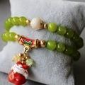 2015 8mm Women Peridot Beads Bracelet Lucky Ceramic Treasure Cat Pendant Female Jewelry Bracelet Multilayer Chain Natural Stone