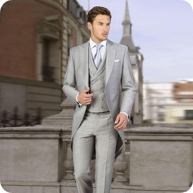 Latest Coat Pant Designs Italian Gray Tailcoat Wedding Men Suits Groom Tuxedos 3 Pieces (Jacket+Pants+Vest) Bridegroom Suits