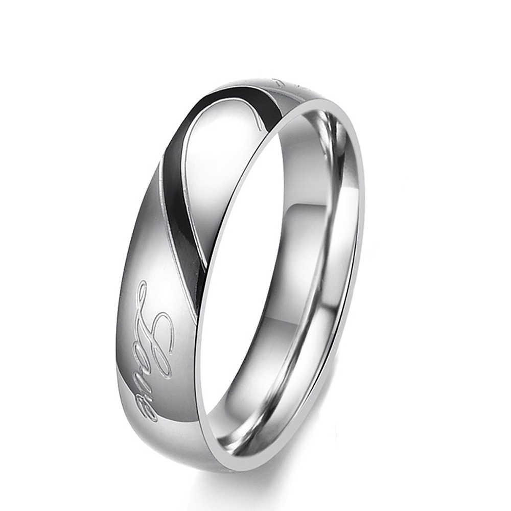 BOBOTUU romantique en acier inoxydable 316L argent demi-coeur Simple cercle véritable amour Couple anneaux bijoux bague de fiançailles BOGJ284