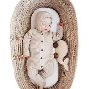 Image 1 - Baby Rompers Clothes Newborn Boys Girls Knitted Jumpsuits Long Sleeve Autumn Toddler Kids Bebes Outfits 2pc One Piece 0 18M Wear