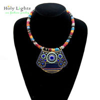 2016 New Lady Bohemia Statement Choker Necklace Multicolor Necklace Pendents Antique Big Necklace Pendents For Cowboy