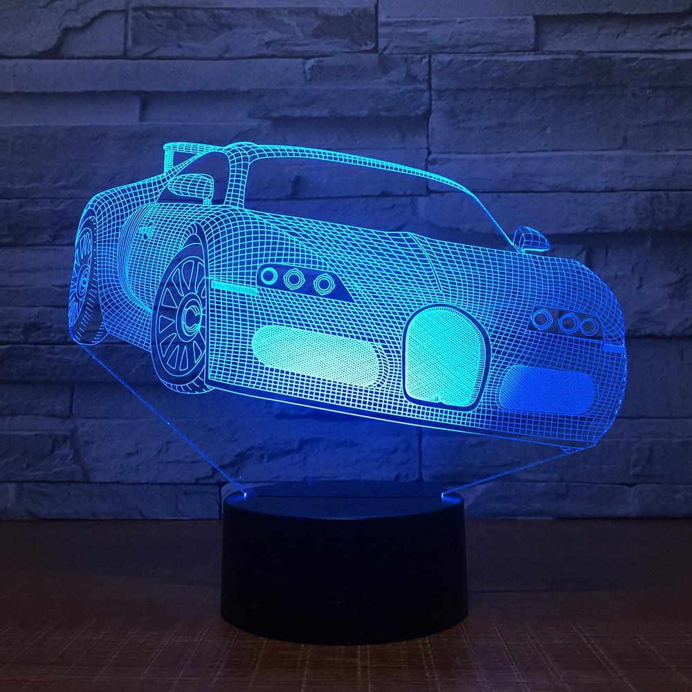 Cool Racing Car LED 3D Night Light 7 Color Changing Usb