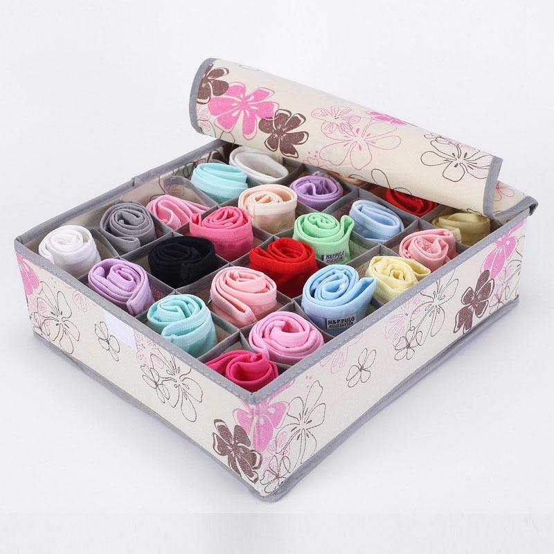 24 Grid Non-woven Lagerung Box Für Socken Unterwäsche Multi-grip Box Divider Schublade Mit Deckel Closet Organizer Kleine lagerung Box