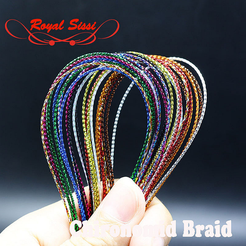 12 colors Fly Tying Glitter Rib Chironomid Nymph Braid Tinsel Thread Lines Fly Fishing Tying Materials Floss for Shiny Bait Body [1 pcs] 2 meter fly tying glitter rib chironomid nymph braid line olive black pearl red gold silver brown color