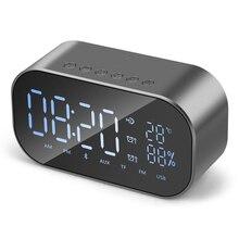 Новый Беспроводной Smart FV-S2 будильник с bluetooth-колонкой зеркало динамик для карты TF Портативный аудио оборудования Температура Дисплей USB FM светодиодный