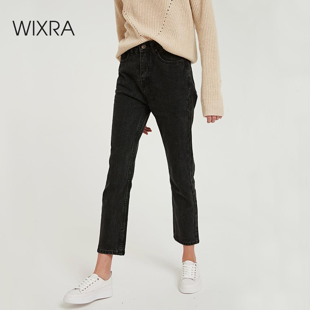 Wixra Solid Casual Women's Denim Pants High Waist Pockets Classic Jeans Trousers 2019 New Spring Autumn Ladies Clothing