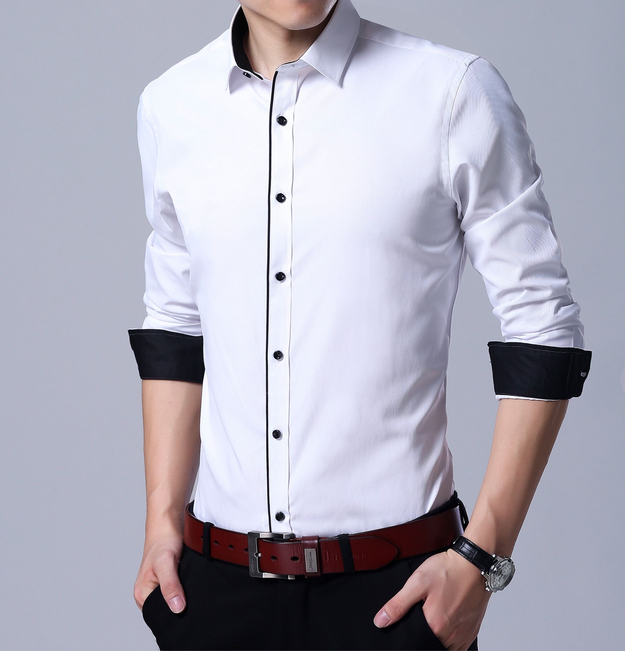 Image 3 - QISHA Mens Shirt Long Sleeve Business Smart Casual Solid Color Twill Male Clothing Slim Professional New Gray Social Man Shirt-in Dress Shirts from Men's Clothing
