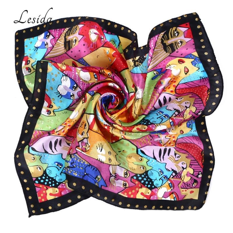 Neck Silk Cat Animal Print Scarf For Women Fashion Neckerchief Square Kerchief Headwear Foulard Femme Small Satin Scarves 5035