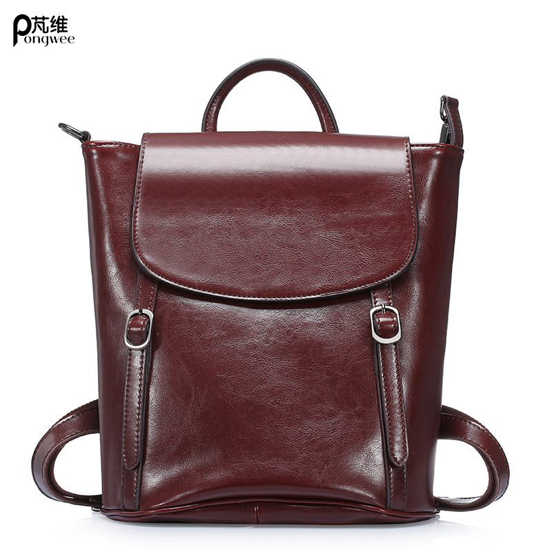 2017 High Quality Genuine Leather Fashion Women Backpack Leather Backpacks for Girls Female School Shoulder Bag Bagpack mochila