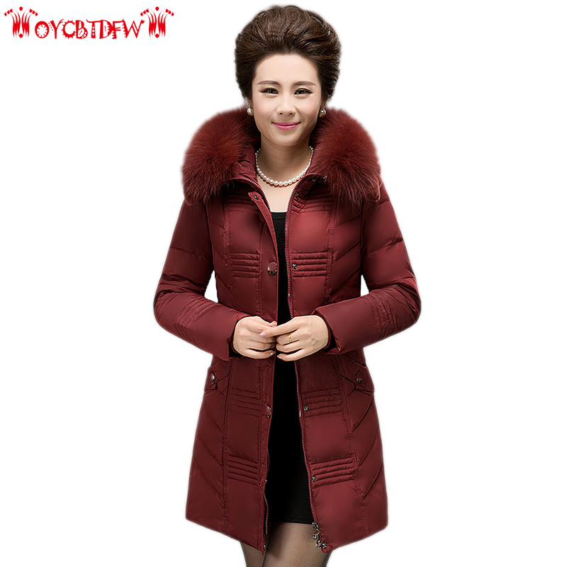 Winter women down jacket 2018 solid color Plus size mid-long High-end Thickening Hooded fur collar warm female down jacket ll810