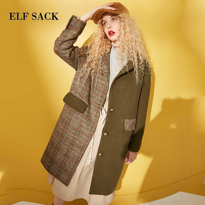 ELF SACK Winter New Woman Wool Coat Plaid Full Turn-down Collar Female Wide-waisted Jackets Casual Vintage Femme Wool Jacket