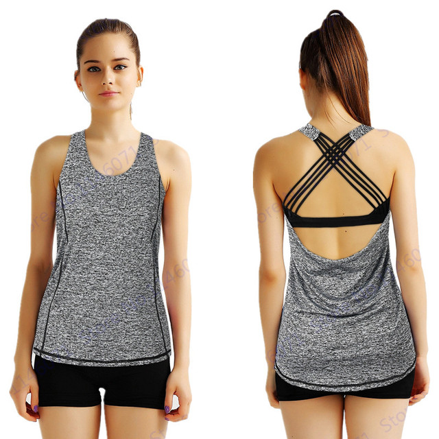 d3c5928be6eb7 Grey Womens Yoga Tee Shirt Sexy Strappy Back Crisscross Sports Fitness Gym  Shirts Dry Fit Biking Running Burnout Tank Top Blouse