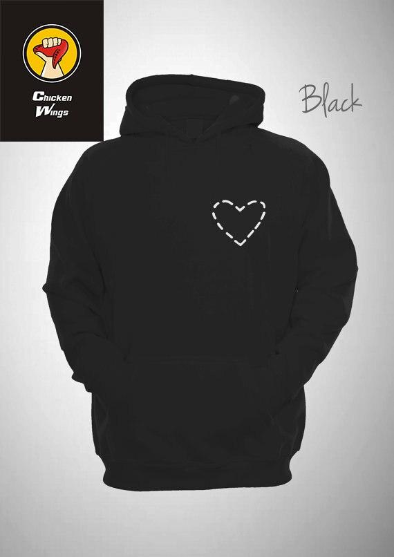 Cut Out Love Heart Hooded Sweatshirt Unisex Hoody Unique Funny Hoodie-Z109