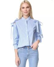 New Off Shoulder Stand Collar Harajuku Blouse Women Shirt Fashion Stripe Bowknot Long Sleeve Blouse Elegant Blusas Women Tops