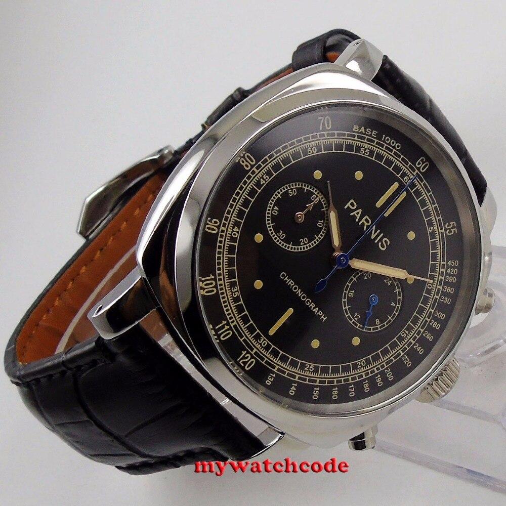 Luksusowa marka 44mm czarna tarcza Parnis stałe przypadku zatrzymać zegarek pełna chronograf pełna stali nierdzewnej wodoodporny męski zegarek kwarcowy w Zegarki kwarcowe od Zegarki na  Grupa 2