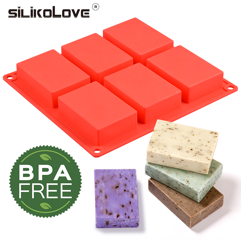 SILIKOLOVE 6 Cavity Silicone Soap Mold DIY Soap Making Mould Cake Decoration Hand Made Kitchen Accessories Cuboid Shape Molds