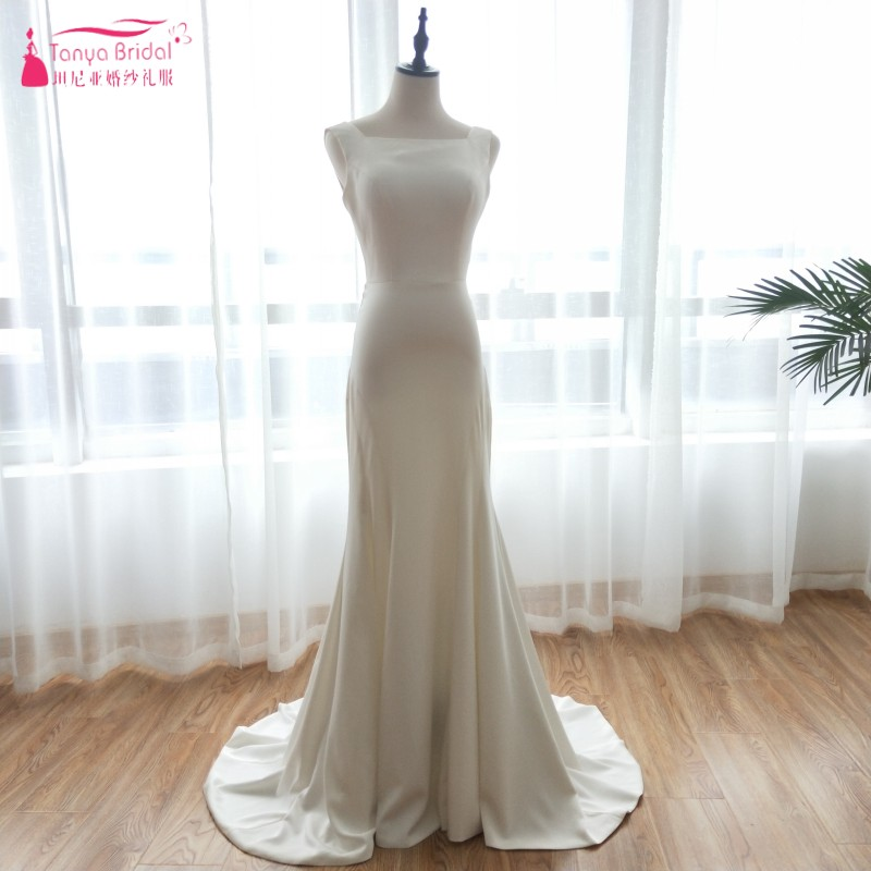 Backless Simple Wedding Dresses 2018 Mermaid Soft Satin Bohemian Beach Bridal  Gowns Fashion Trend Vestido De ff9728b47702