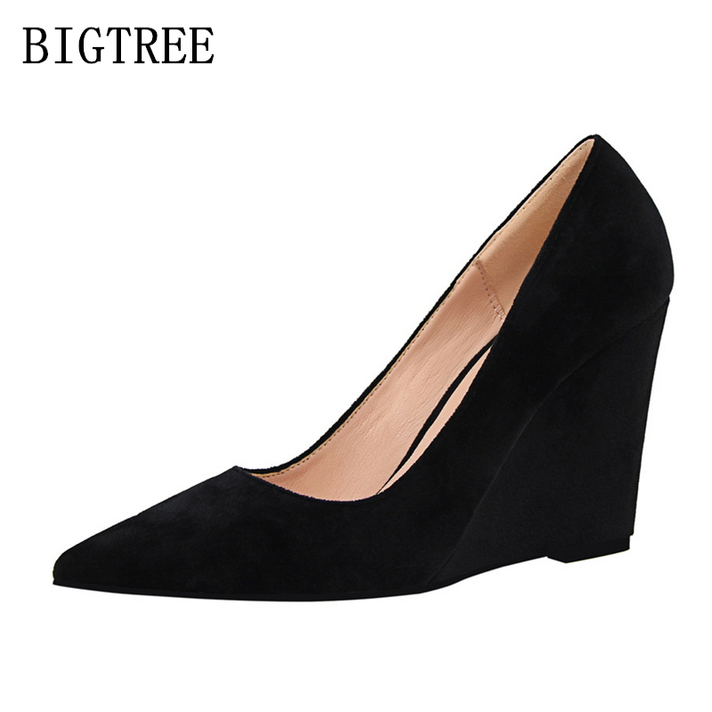 Elegant wedges shoes woman sexy high heels zapatos mujer tacon italian euros luxury brand bigtree shoes wedge heels escarpin red idg brand women slip on high heels short rough with the fall and winter metal buckle rivets shoes woman zapatos mujer tacon
