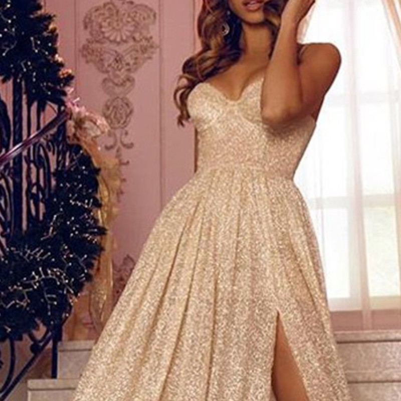 Gold Party Dress Women Summer 2019 Sleeveless Sequined Sexy Dress Ladies Strapless Floor Lenght Split Long Dress Summer Women in Dresses from Women 39 s Clothing