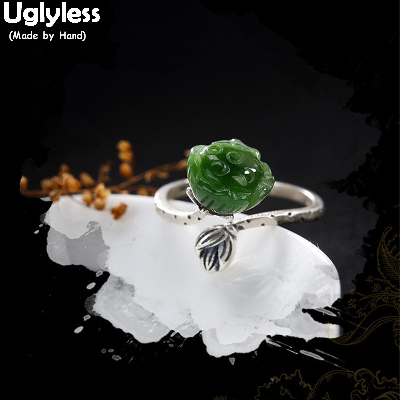 Uglyless Real S 925 Sterling Silver Natural Green Jade Lotus Women Vintage Rings Handmade Jasper Floral Ring Ethnic Fine Jewelry цена
