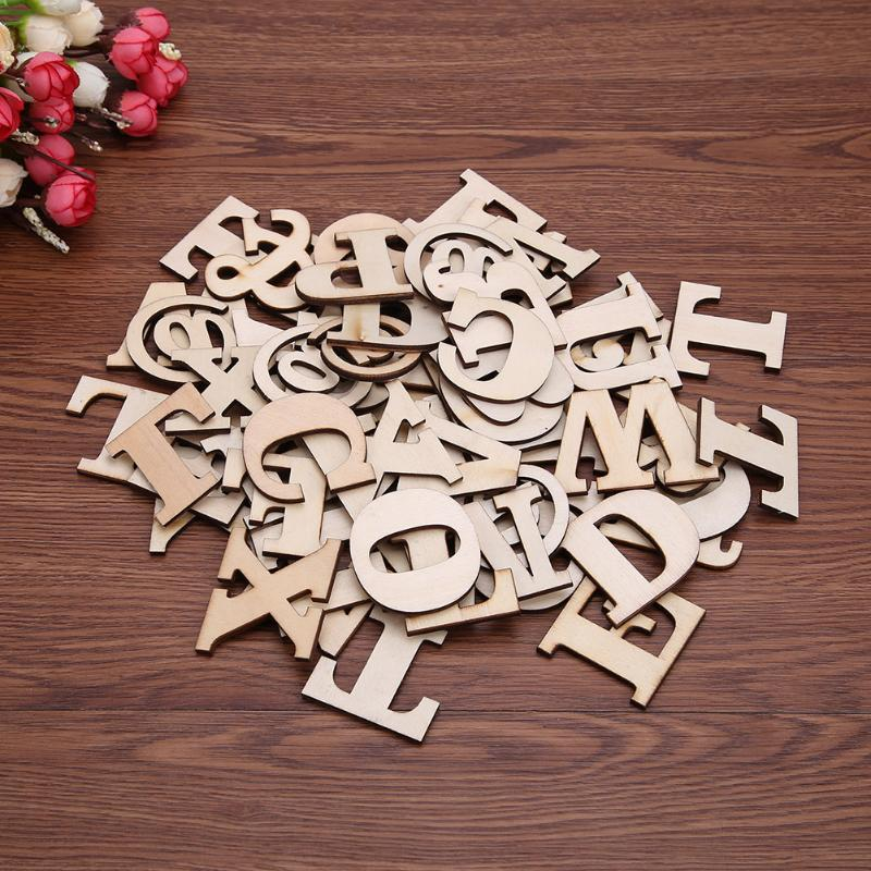 100pcs/lot Wooden Letter 26 Wood English Alphabet Scrabbles Crafts English Words DIY Handcrafts Ornaments