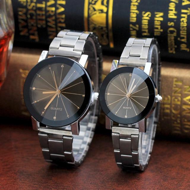 Couple Watches Fashion 2018 1pcs Stainless Steel Band Analog Gear Quartz Movemen