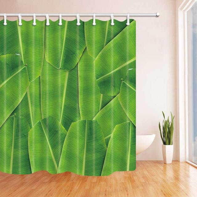 Banana Leaf Texture In Thailand Bath Curtain Polyester Fabric Waterproof Shower Curtains Hooks Included Green