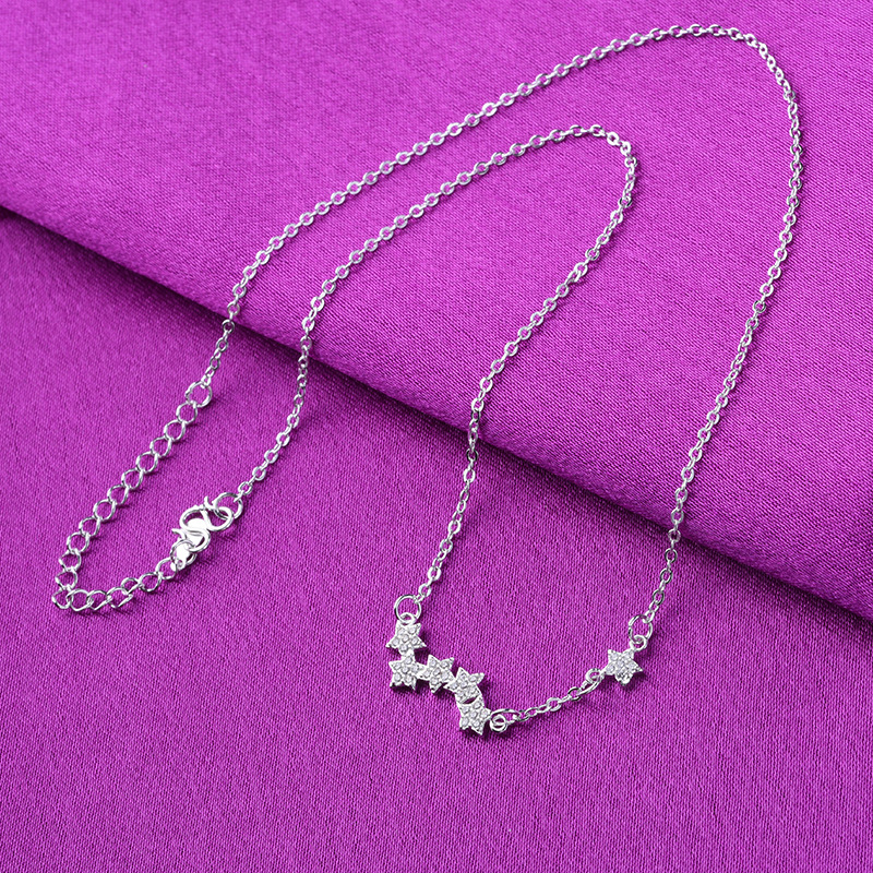 Silver plated star pendant constellation zirconia microinlaid crystal small star necklace female