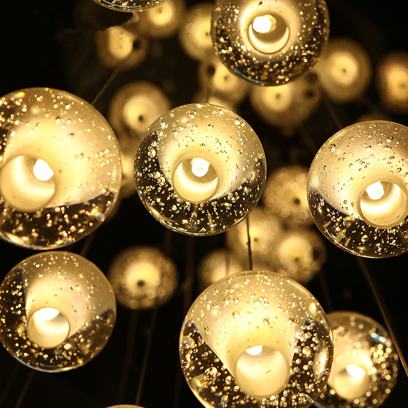 Modern Pendant Lamp Transparent Air Bubble Meteor Shower Crystal Ball Stair Pendant light G4 Led Bulb