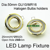 Recessed Led Ceiling Downlights Holder Dia 90mm Open Hole 65mm Golden Color Iron Case Led Spotlight