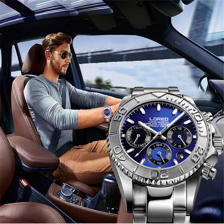 LOREO Mechanical Watch Men Multifunctional Diving 200M Steel Shell Blue Disk Man Business Automatic Self Wind