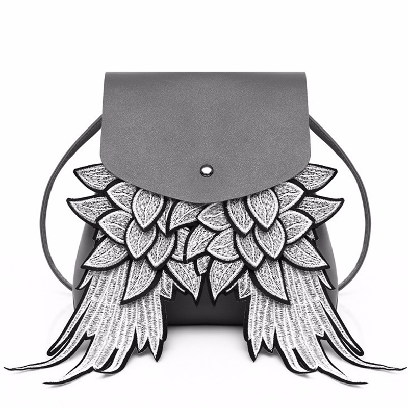 Fashion Women Backpack Samll With Wing Unique Design PU Leather Lady Bag Angel Wings Drawstring Backpack Female Shoulder Bag Bao