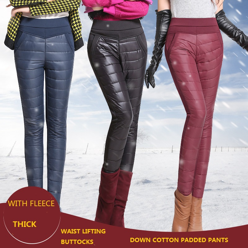 8268 Winter Women Pants with Velvet Thickening Slim Thermal Female Warm Pants Legging High Waist Down Pants