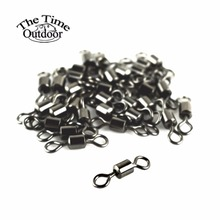 100pcs Fishing Rolling Swivels Connector Ball Bearing Solid Rings Swivel For Carp Fishing Accessories