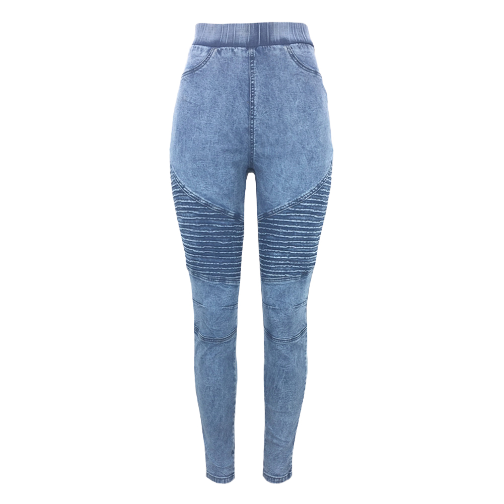 Women Skinny   Jeans   Autumn Winter Denim Jeggings High Waist Elastic   Jeans   Leggings Washed Ruched Skinny Pencil Trousers Tights