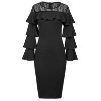 Kate Kasin Sexy Women Long Layered Sleeves Dress 2017 Crew Neck Lace Ruffle Ladies Black Office