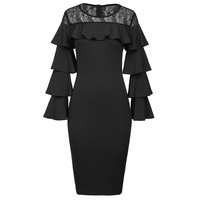 Kate Kasin Sexy Women Long Layered Sleeves Dress 2017 Crew Neck Lace Ruffle Ladies Black Office