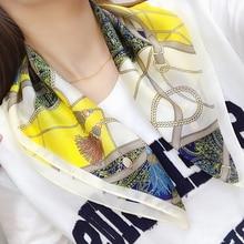 Fashion Yellow Kerchief Hair Scarf For Women Print Silk Satin Bag Scarfs Female 53*53cm Square Headband Small Scarves For Ladies