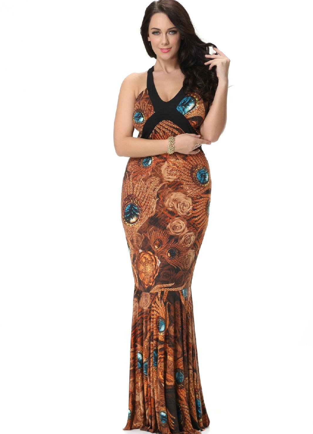 Robe Femme 2019 D'été Bohème Sexy Trompette Maxi Longues Robes Femme Sans Manches Slim Taille grande taille 7XL 6XL 5XL CM299