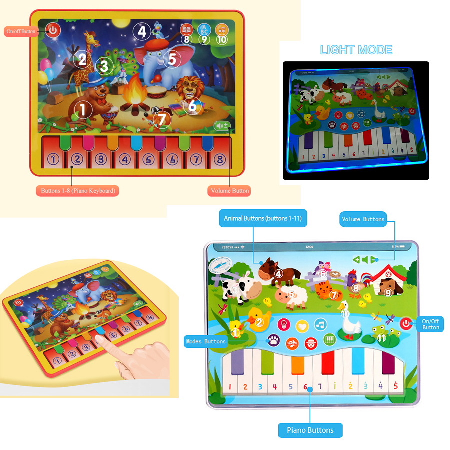 Kids Learning toy pad with Farm Animal sound Learning Games Interactive Tablet for Learning ABC, Story,Mustic Educational Toys image