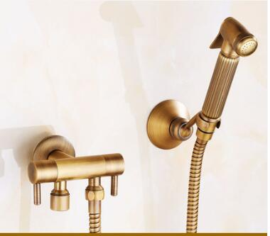 Brass antique Held Shower Head set with 1.5M shower plumbing hose and holder hand shower luxury bidet faucet shower head New