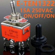 Высокое качество 1 шт. E-TEN1322 15A/250 в 6 pin водонепроницаемый переключатель Крышка ВКЛ-ВЫКЛ-ВКЛ миниатюрные тумблеры оранжевый