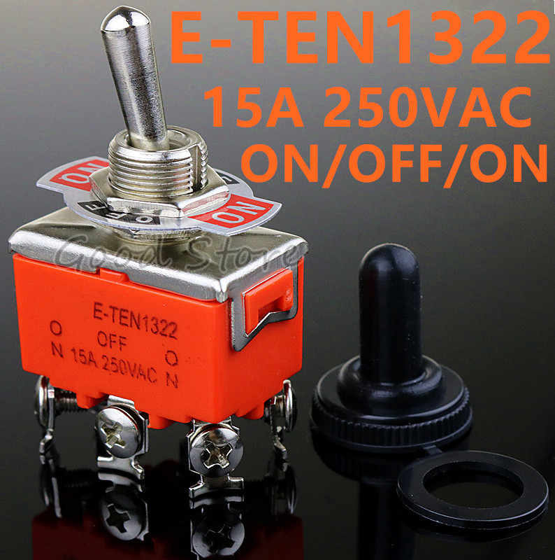 Kualitas Tinggi 1 Pcs E-TEN1322 15A/250V 6 Pin Tahan Air Switch Cap On-Off-On Miniatur toggle Switch Orange