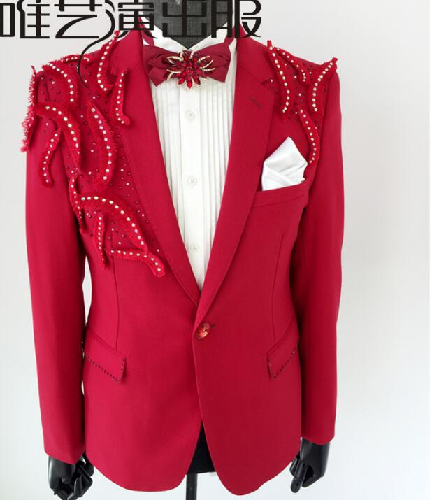 Осенне зимняя одежда мужские костюмы красного цвета конструкции masculino homme terno Сценические костюмы для певцов куртка мужчины пиджак Танцы зв