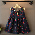 New girls dress 2016 summer cute cherry print girls vest sundress kids sleeveless beach dress for children cotton clothes