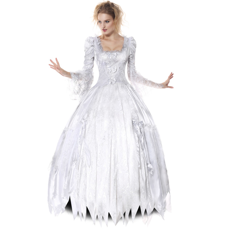 Custom Made Movie Alice in Wonderland The White Queen Cosplay Costume White Fancy Dress for Adults